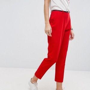 ASOS slim tailored cigarette pants with belt